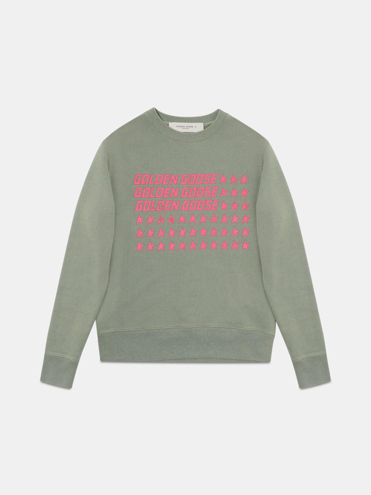 Athena round-neck sweatshirt with pink flag print