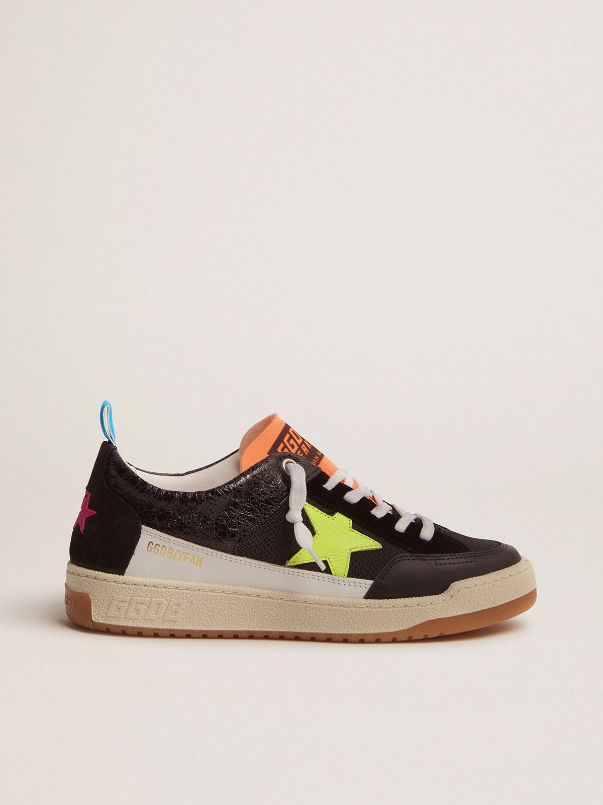Sneakers Yeah donna nere con stella giallo fluo