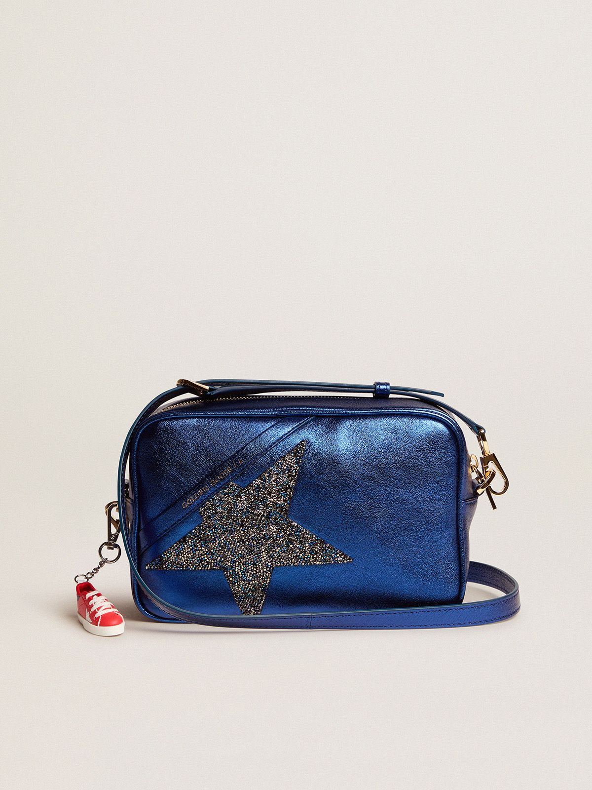 Star Bag made of blue laminated leather with Swarovski star