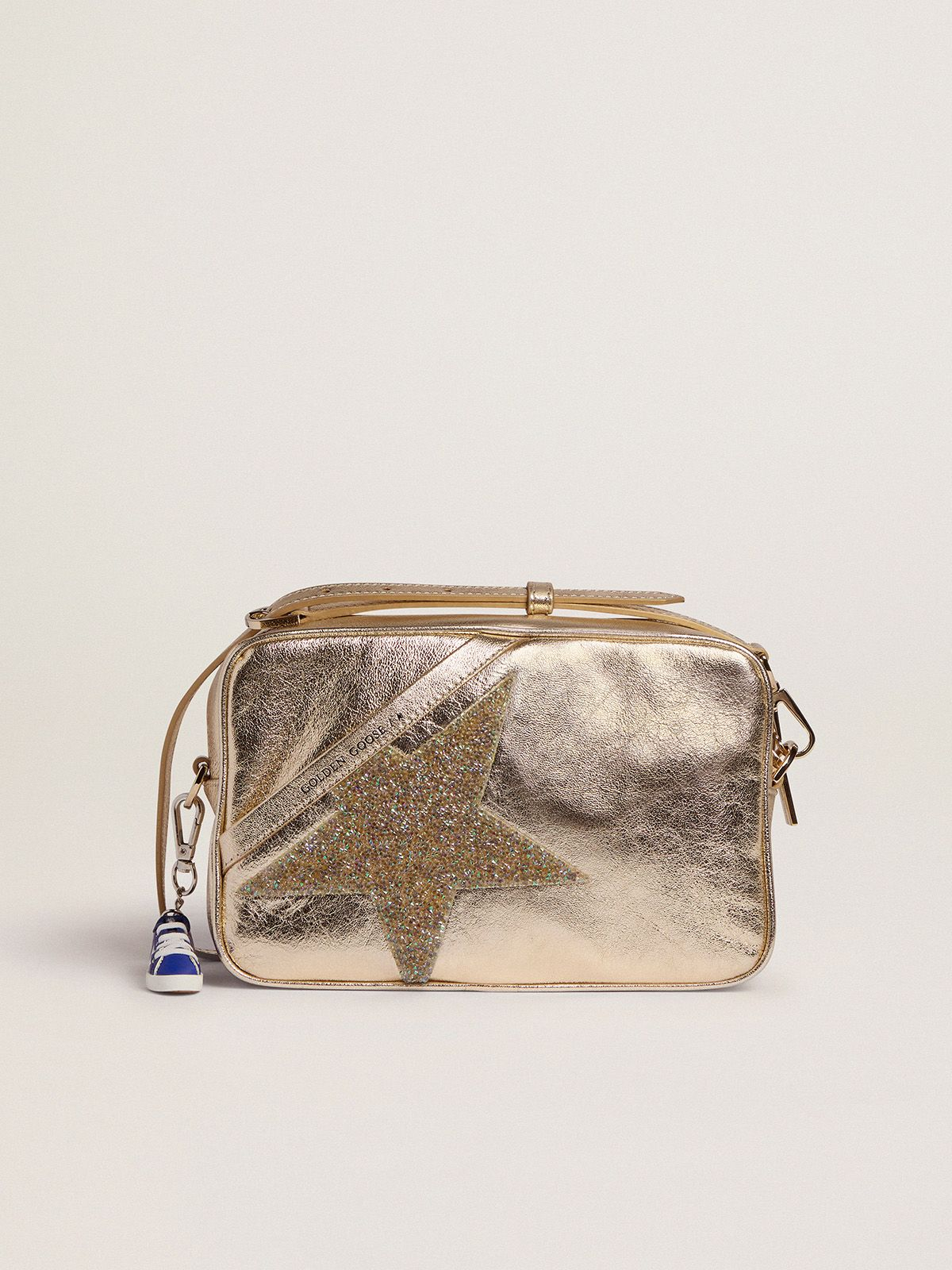 Golden Star Bag made of laminated leather with Swarovski star