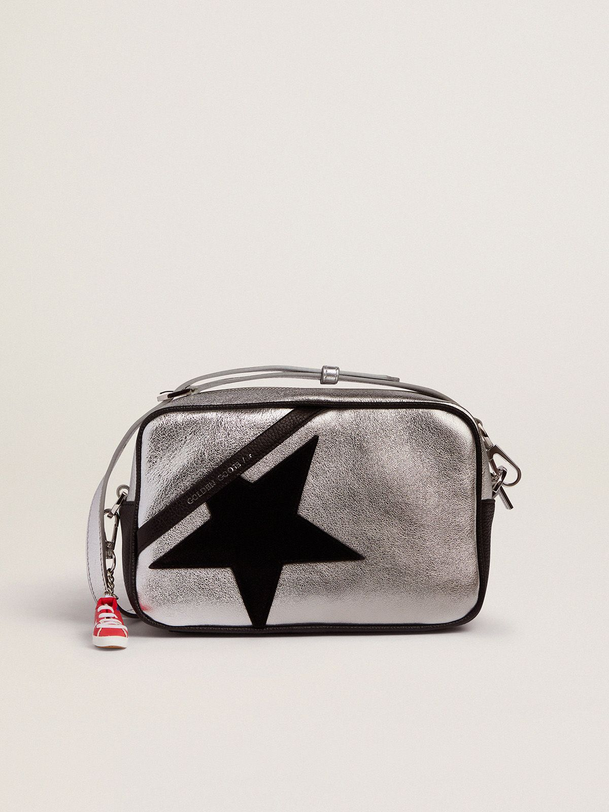 Silver Star Bag with black hammered leather inserts and black suede star