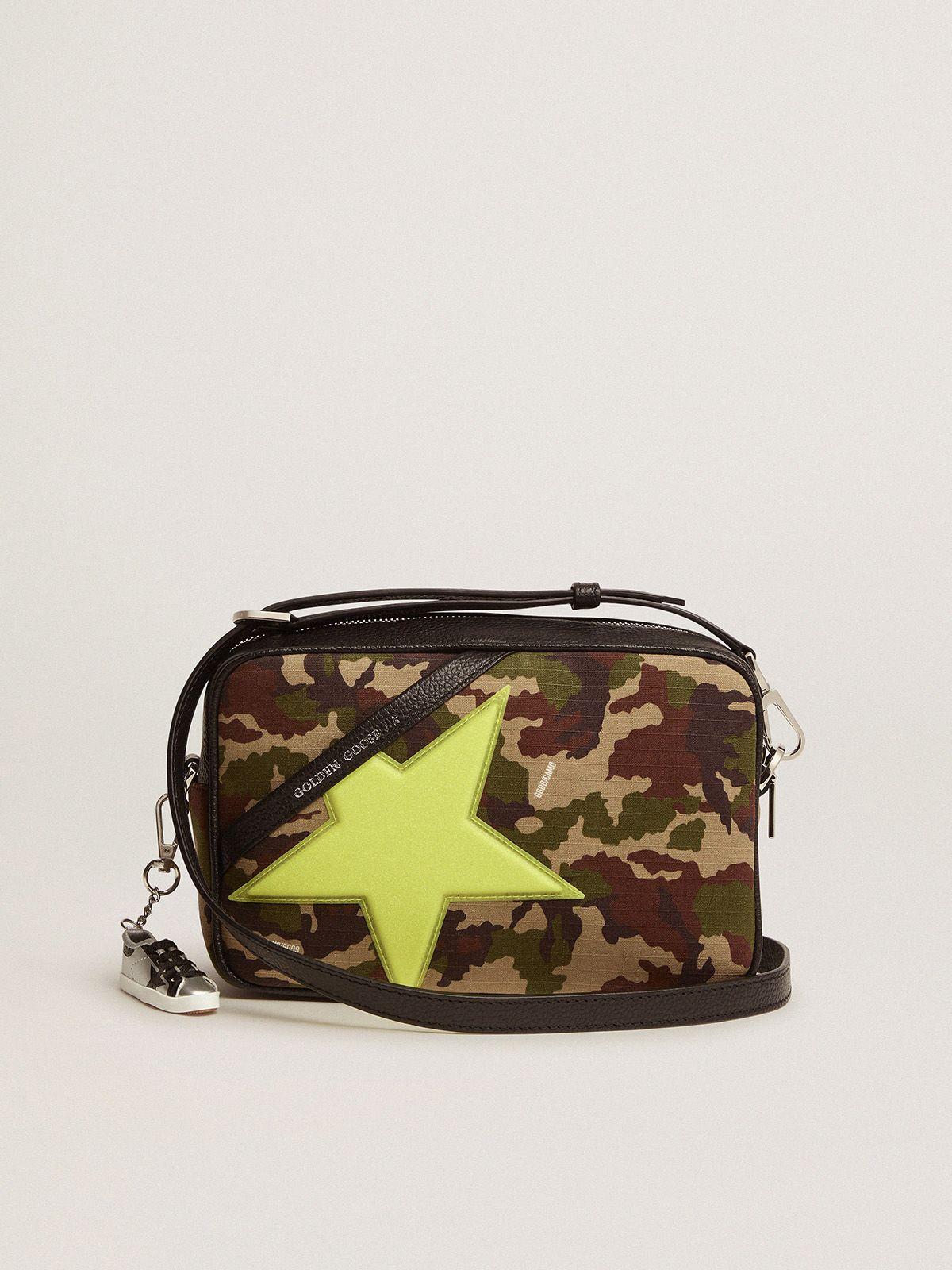 Camouflage-print Star Bag, fluorescent yellow Golden Goose star with fine iridescent glitter