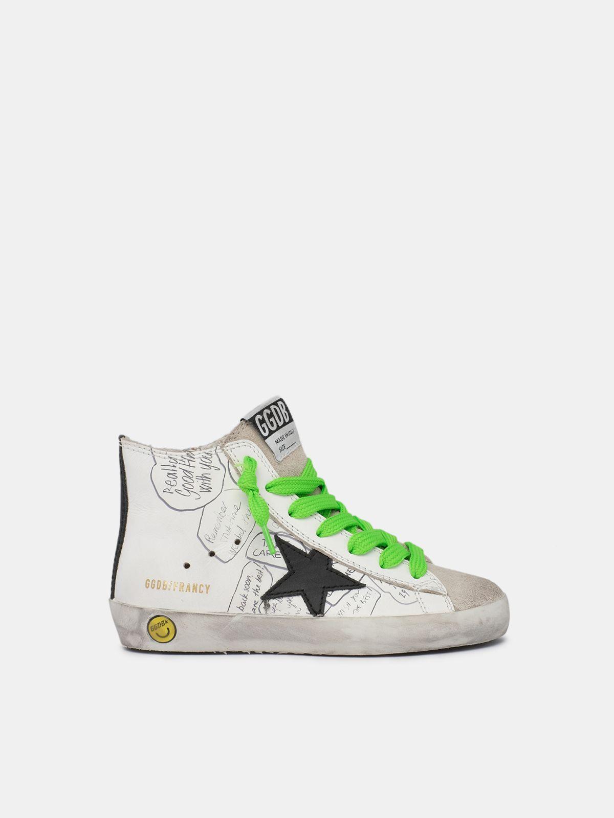 Golden Goose - Sneakers Francy con lacci bicolor fluo e disegni sulla tomaia in