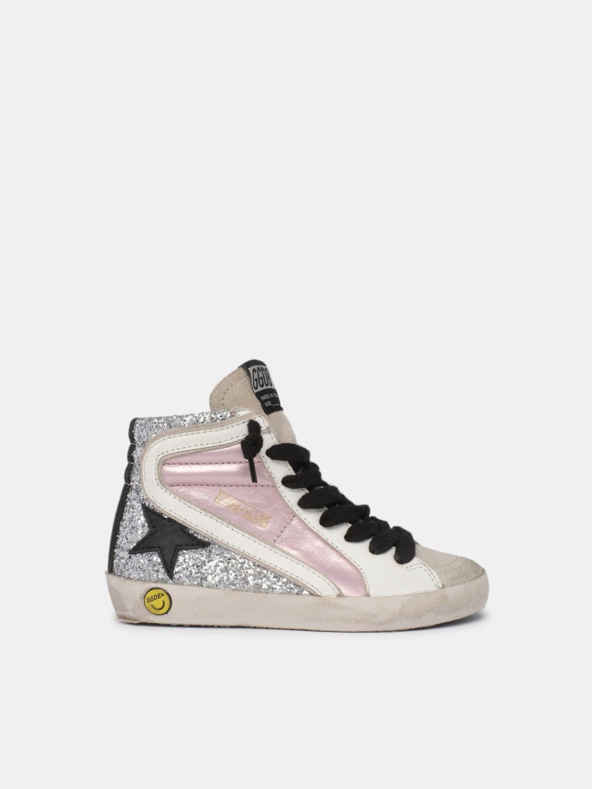 Sneakers Slide con tomaia glitter e inserto in pelle rosa lamitato