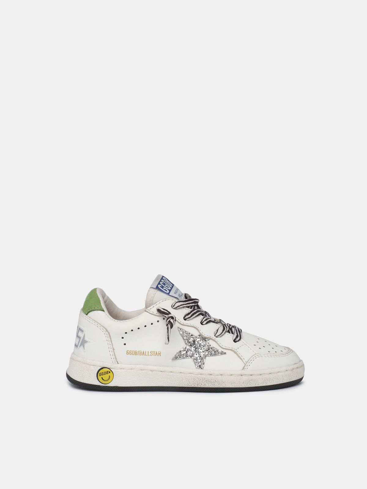 Sneakers Ball Star con lacci zebrati e stella con glitter argentati