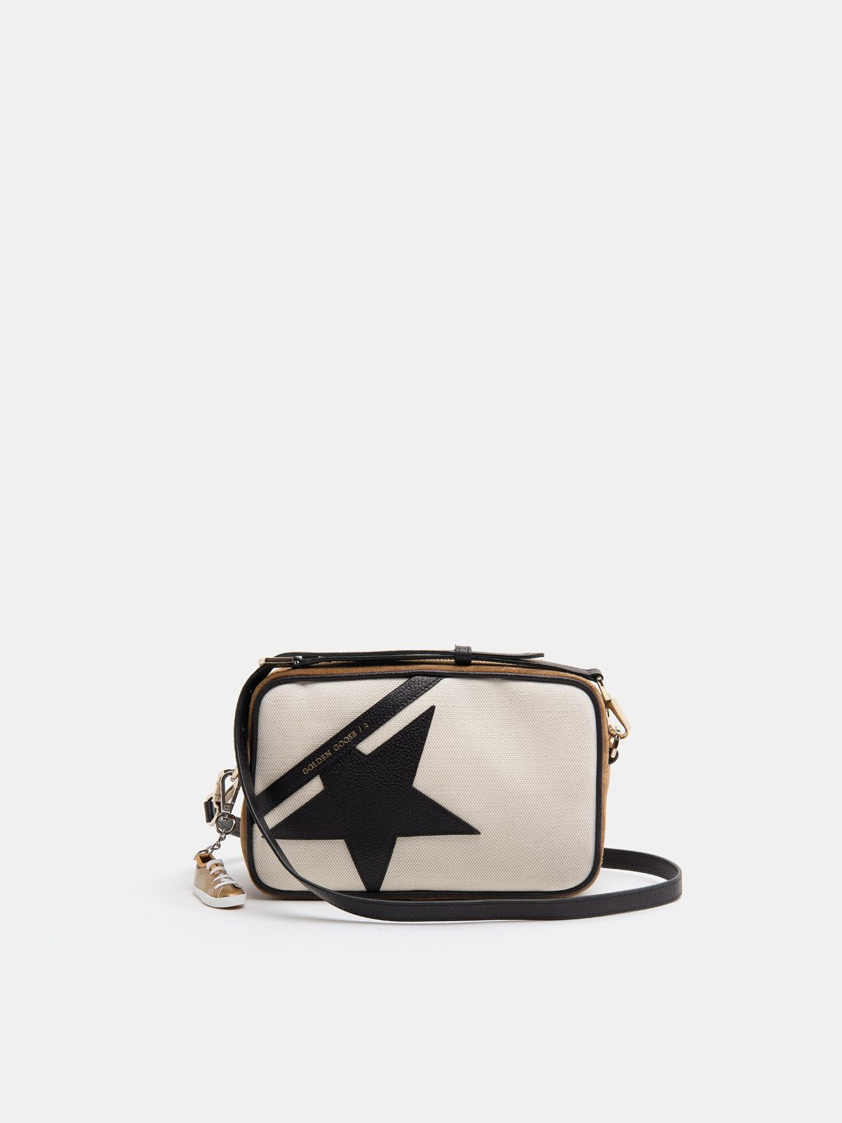 Golden Goose - Star Bag made of canvas and brown suede leather with black star in