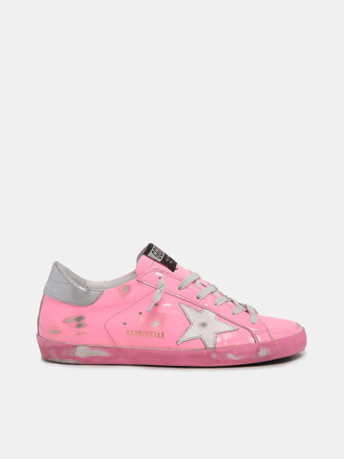 Pink Super-Star sneakers with silver heel tab