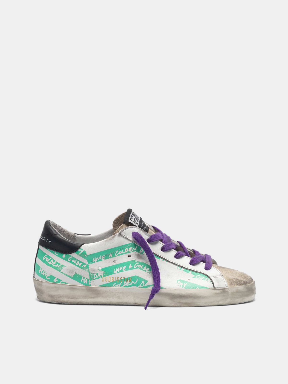 Super-Star sneakers with aqua-green flag print