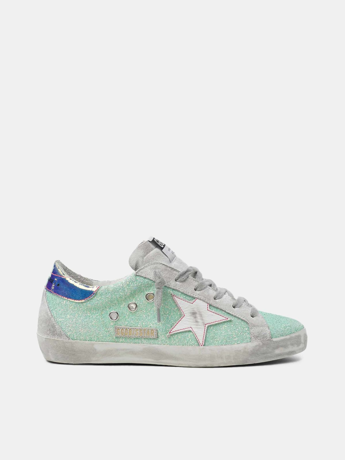Super-Star sneakers with green glitter and chrome heel tab