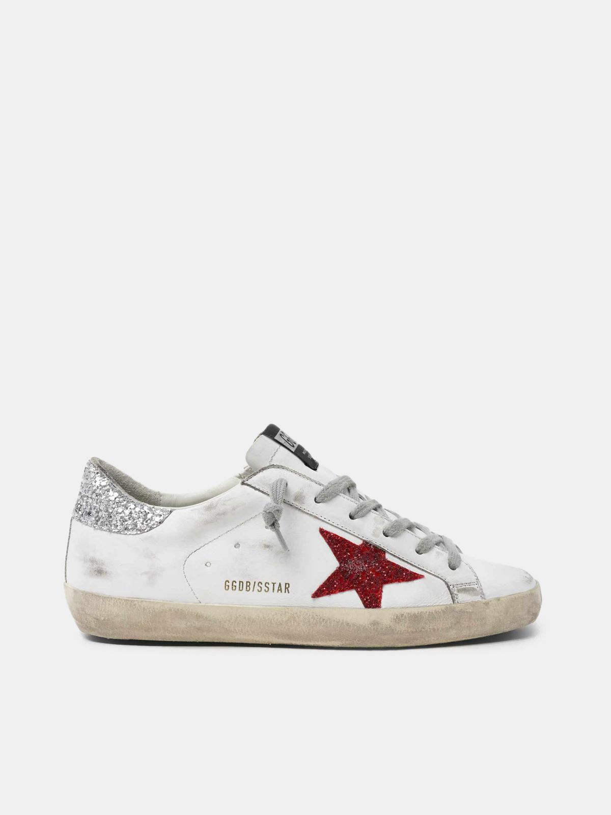 White Super-Star sneakers in leather with glittery red star