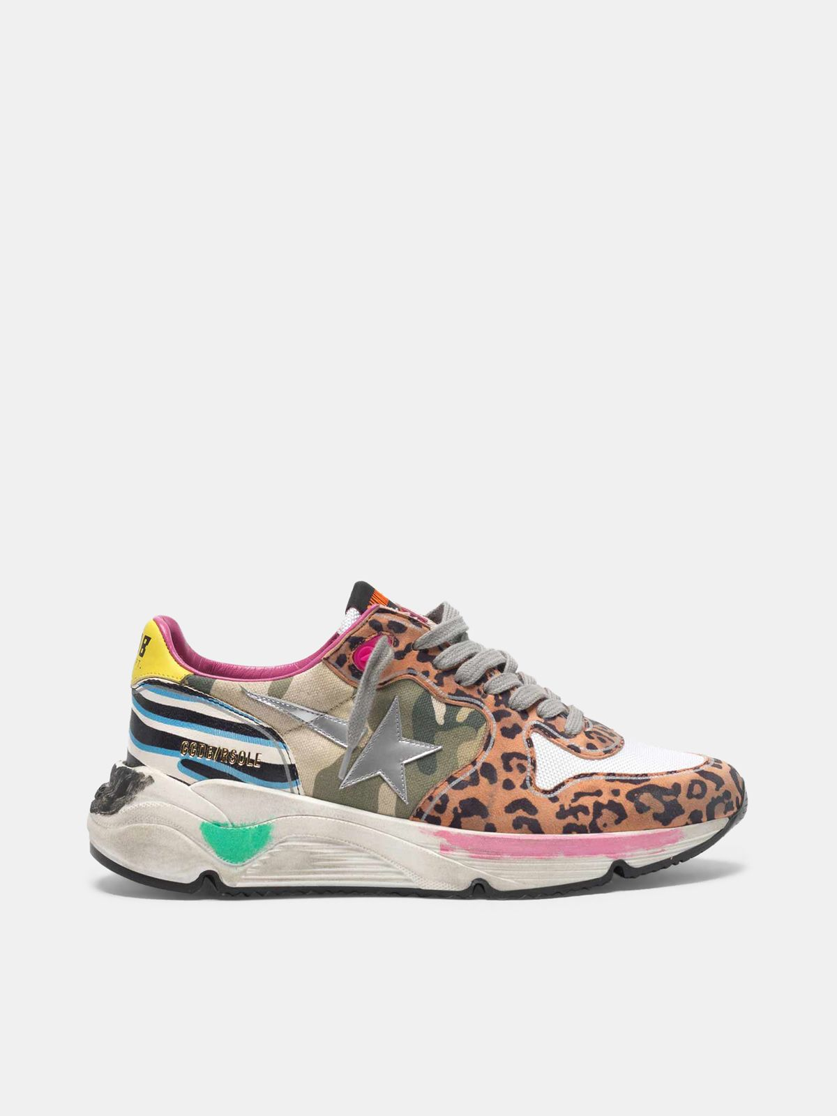 Golden Goose - Running Sole sneakers with mixed animal-print upper in