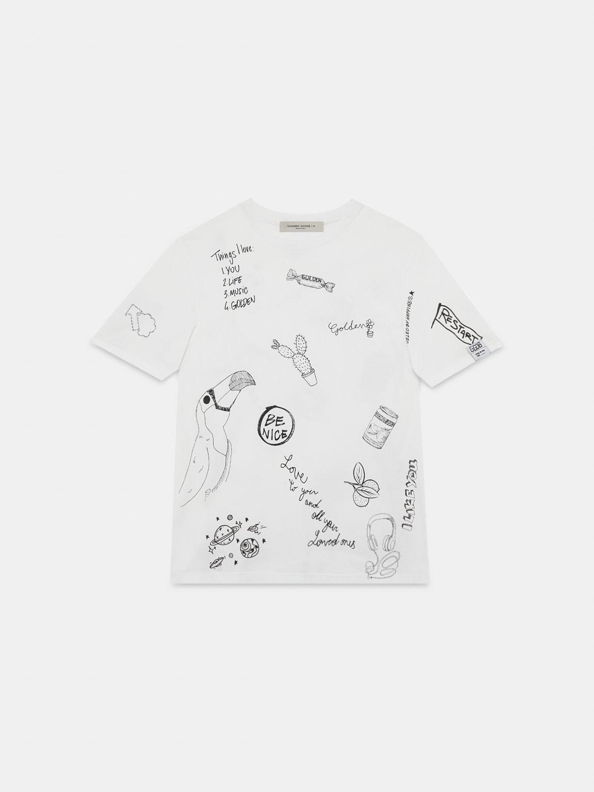 Golden Goose - T-shirt Adamo con stampa graffiti in