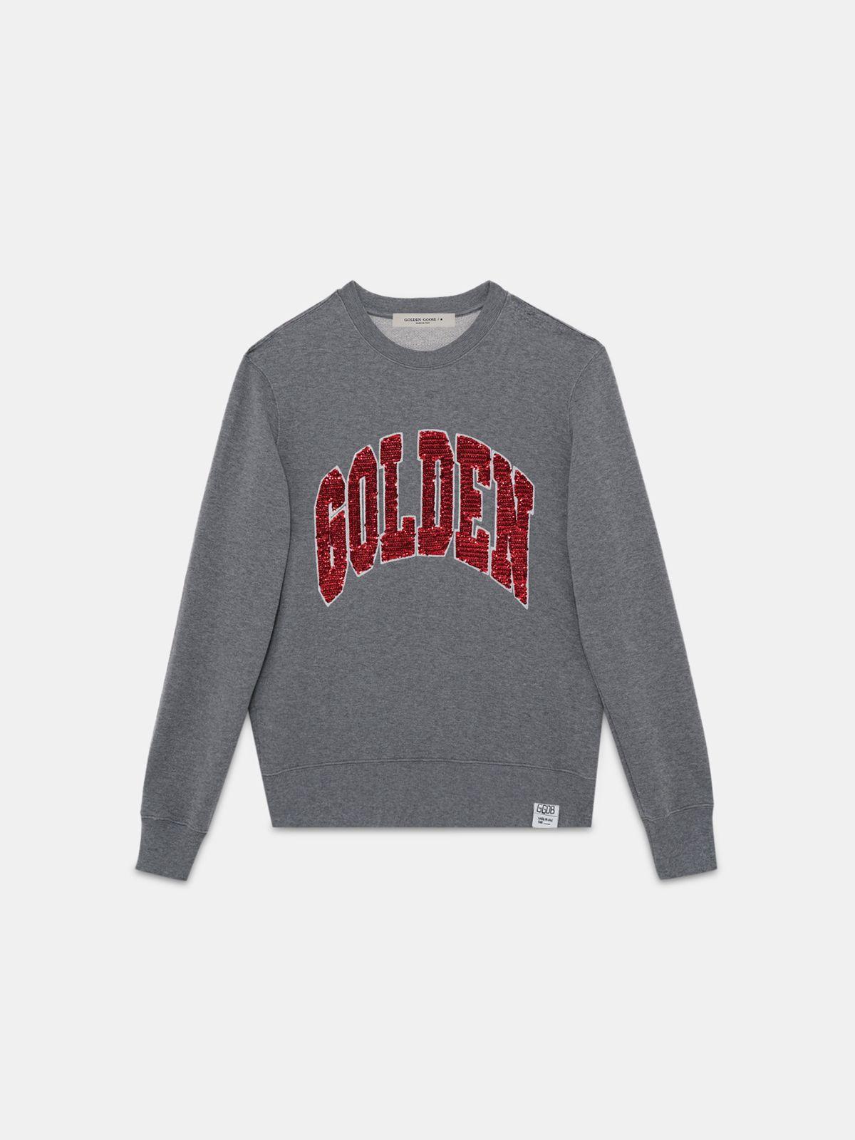 Golden Goose - Felpa  Archibald con scritta Golden in paillettes in