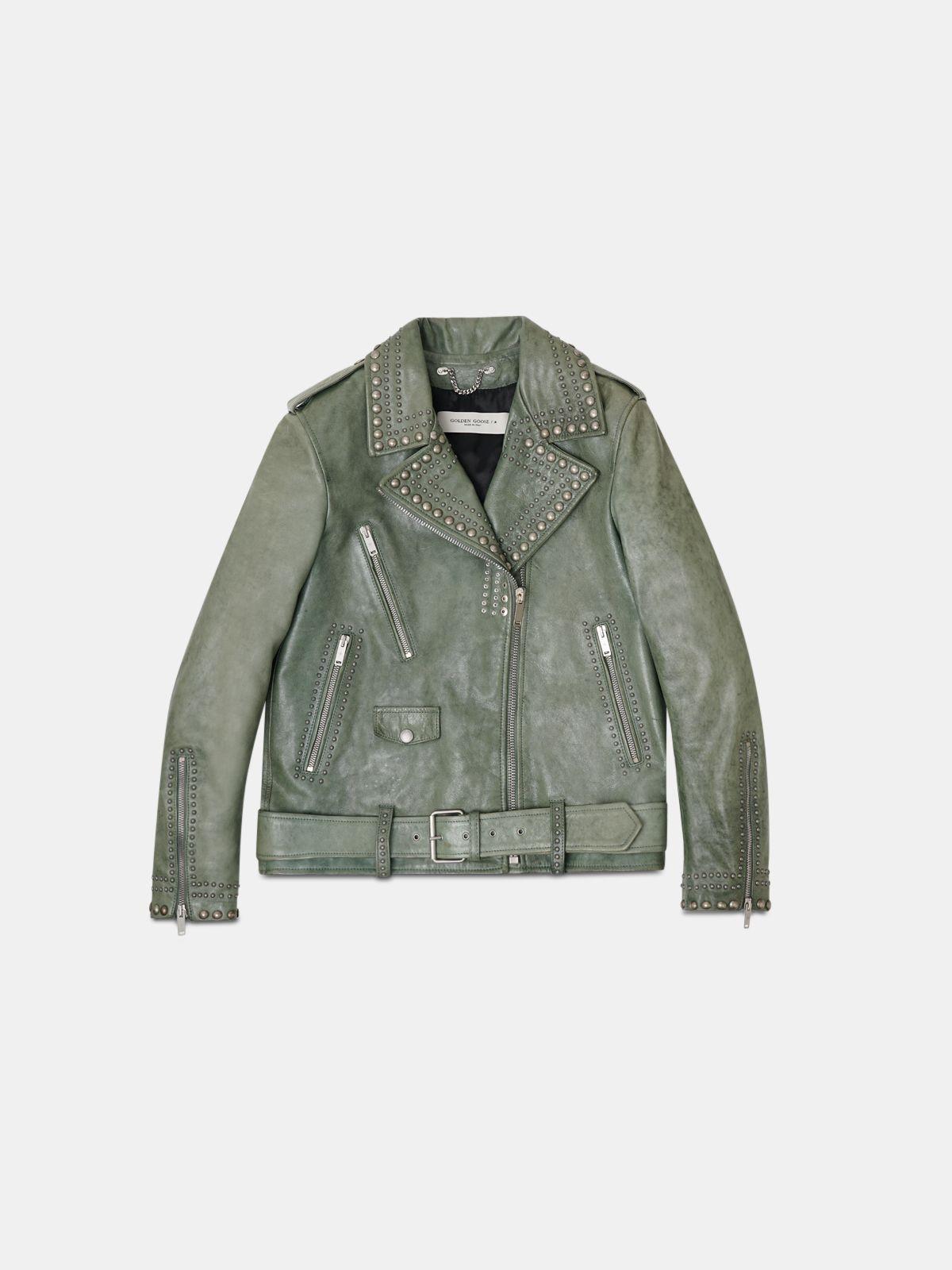 Green Golden biker jacket with decorative studs
