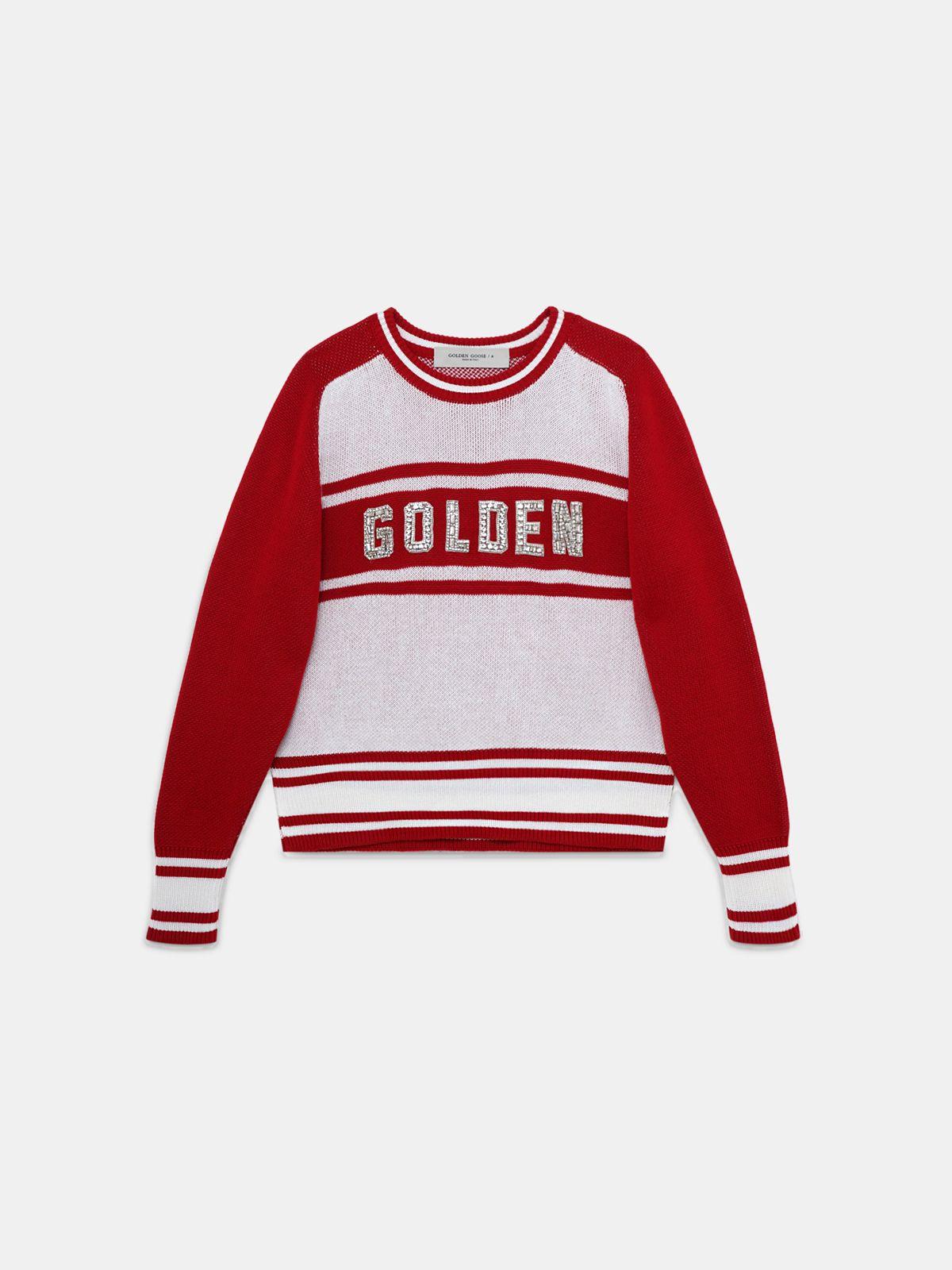Golden Goose - Maglione Dianne con scritta Golden con cristalli in