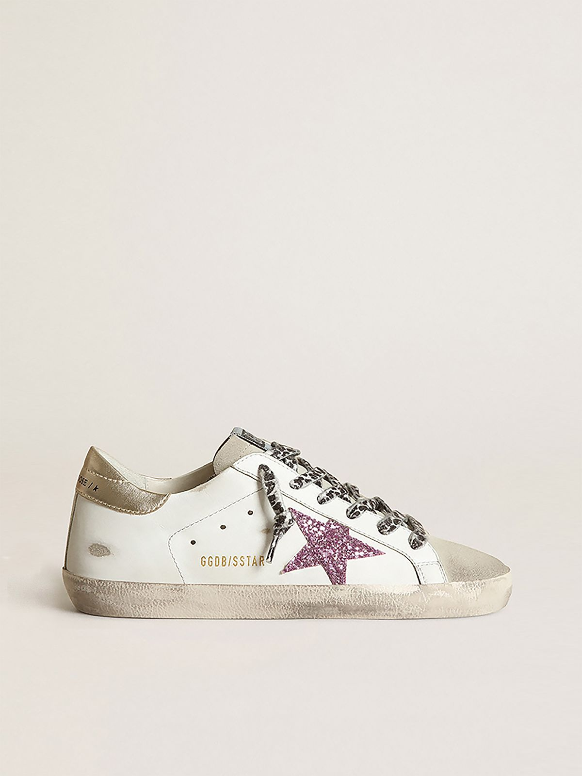 Super-Star sneakers with glitter and gold heel tab