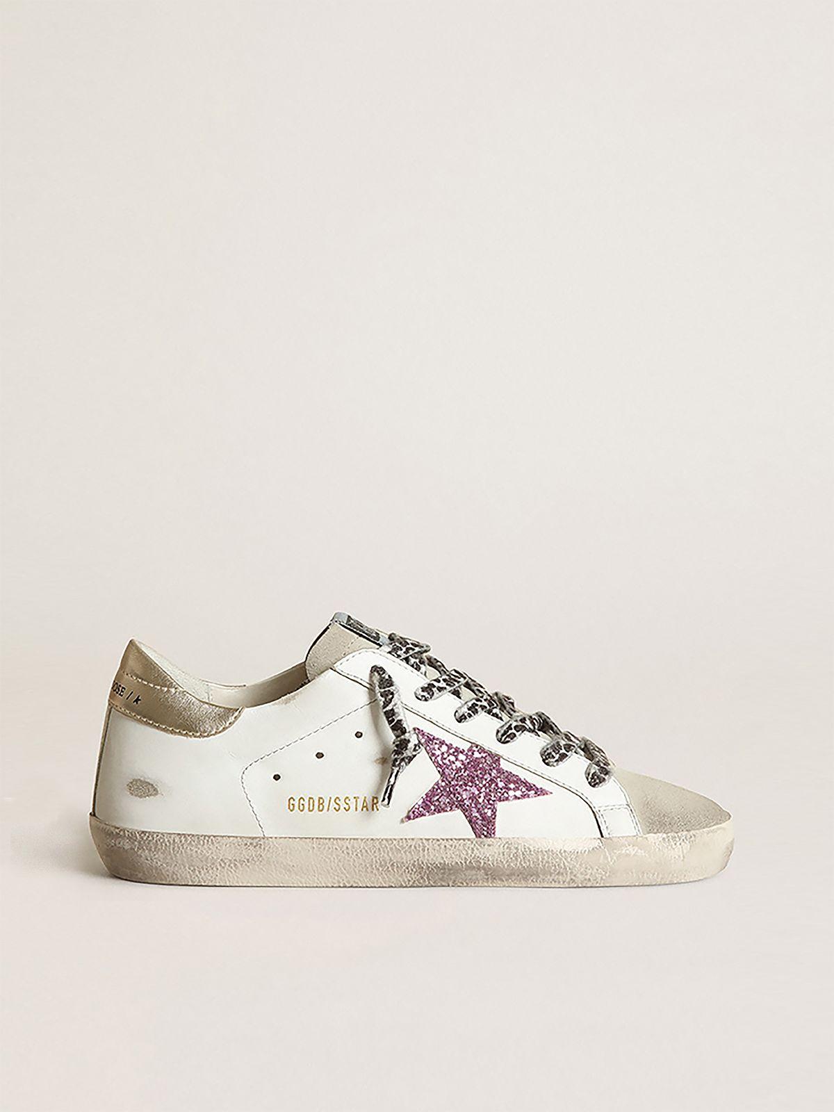 Sneakers Super-Star con glitter e talloncino dorato