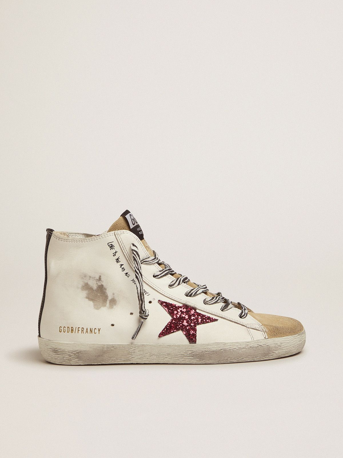 Francy sneakers with red glittery star and handwritten lettering