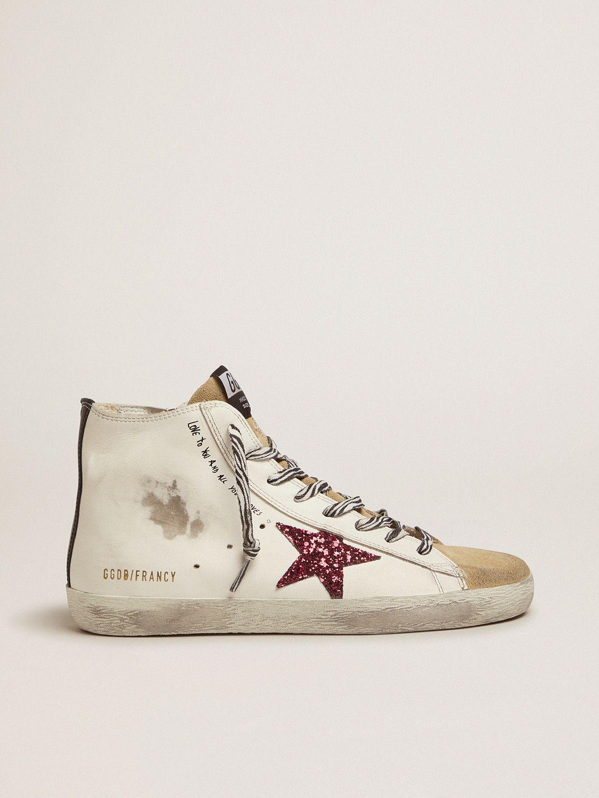 Golden Goose - Sneakers Francy con stella rossa glitterata e scritta a mano in