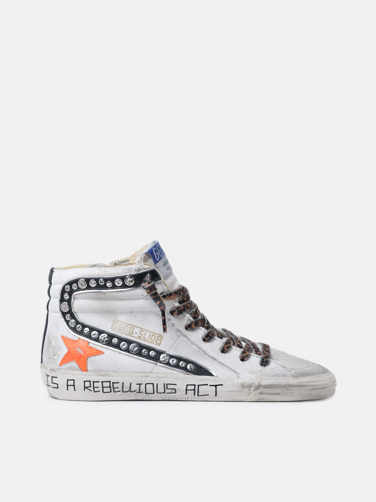 Golden Goose - Sneakers Slide in canvas con borchie decorative in