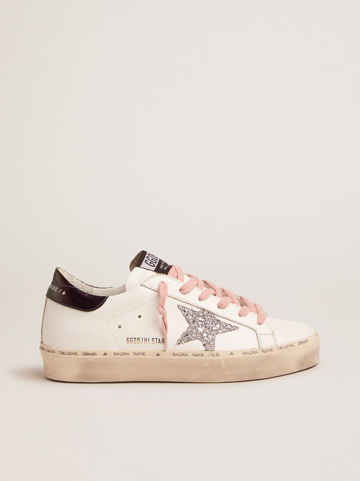 White Hi-Star sneakers with glittery star and pink laces