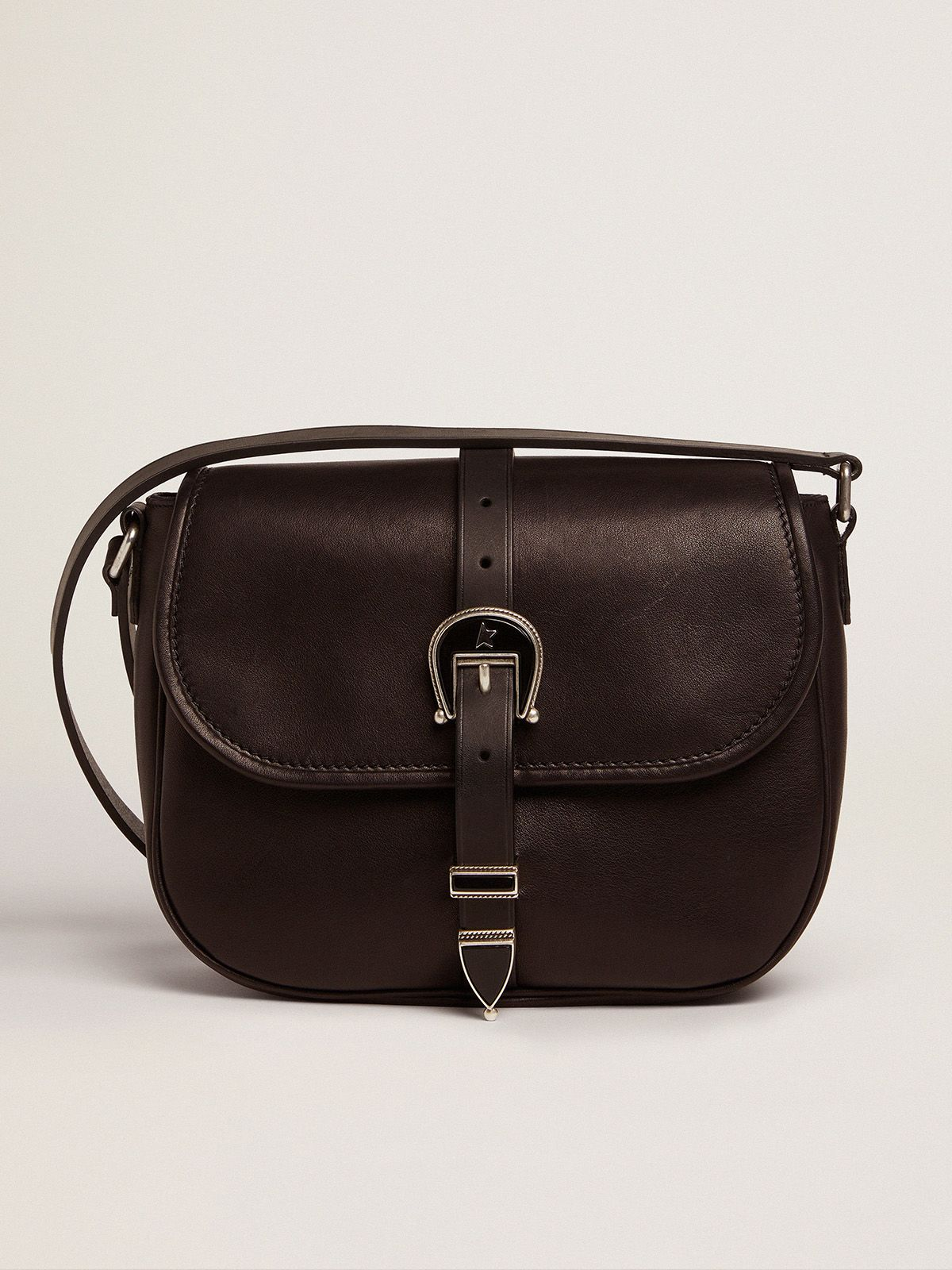 Medium black leather Rodeo Bag