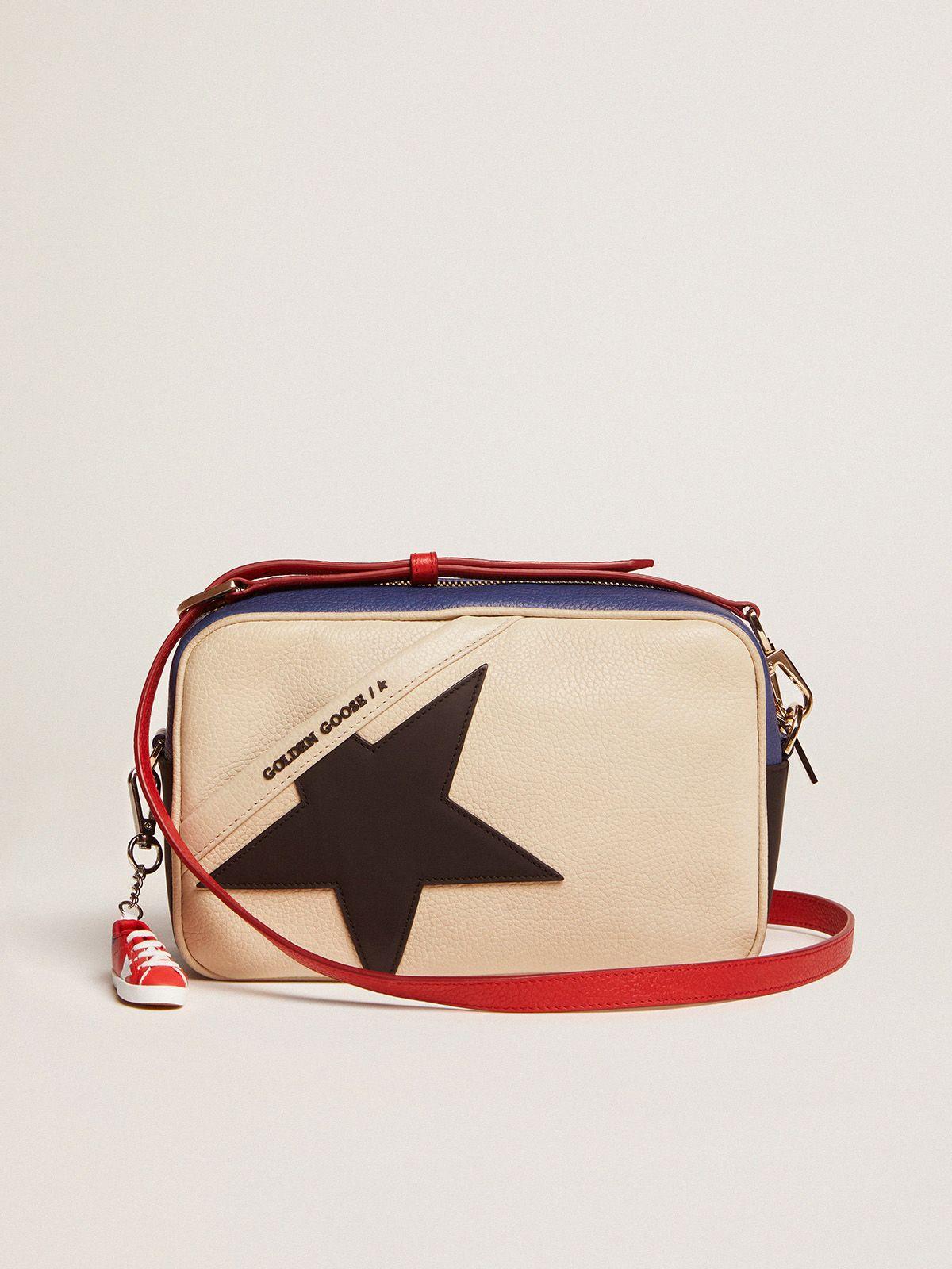 Borsa Star Bag in pelle granata con stella nera