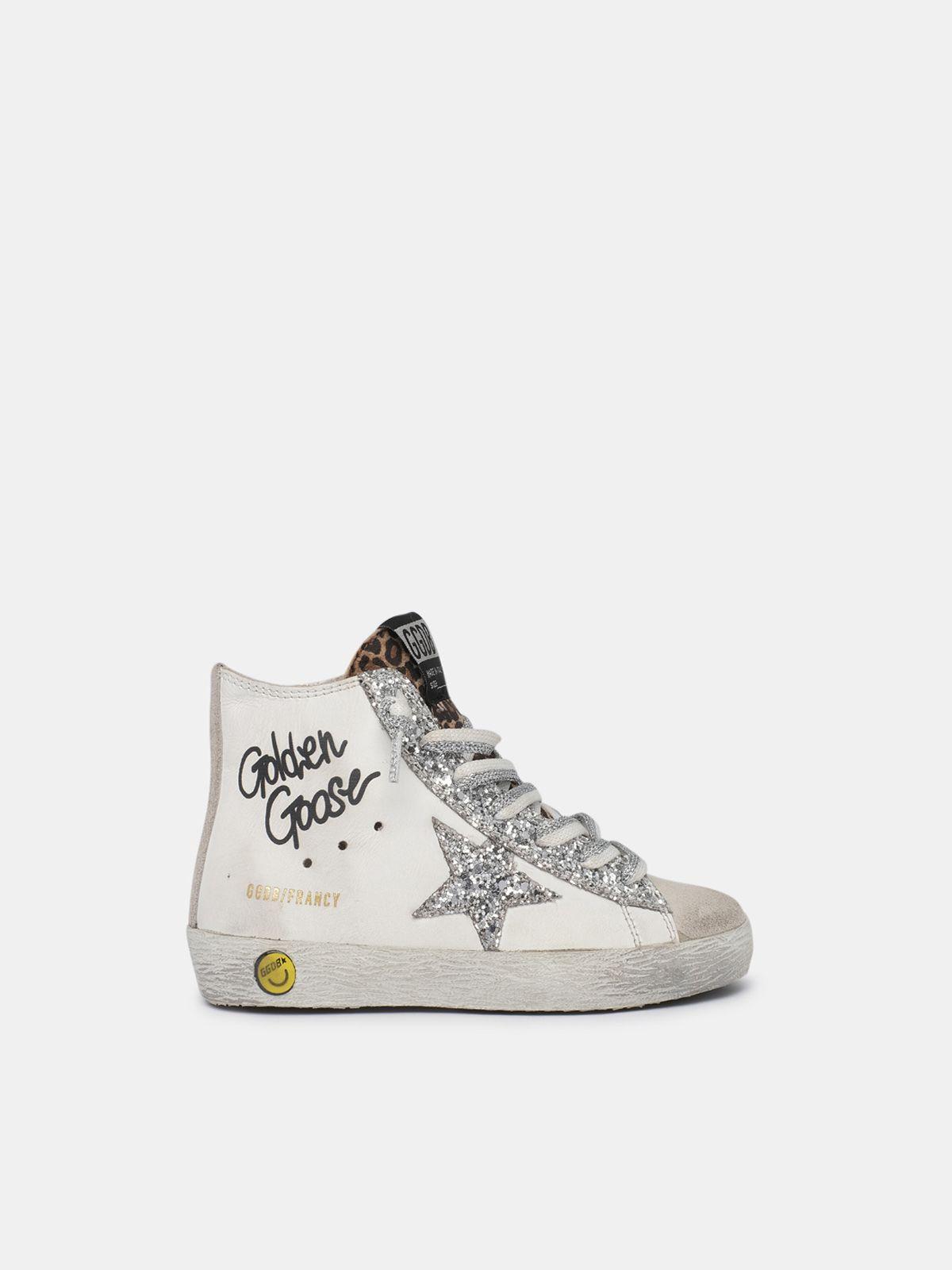 Sneakers Francy con inserto leo e lacci bicolor bianchi e argentati