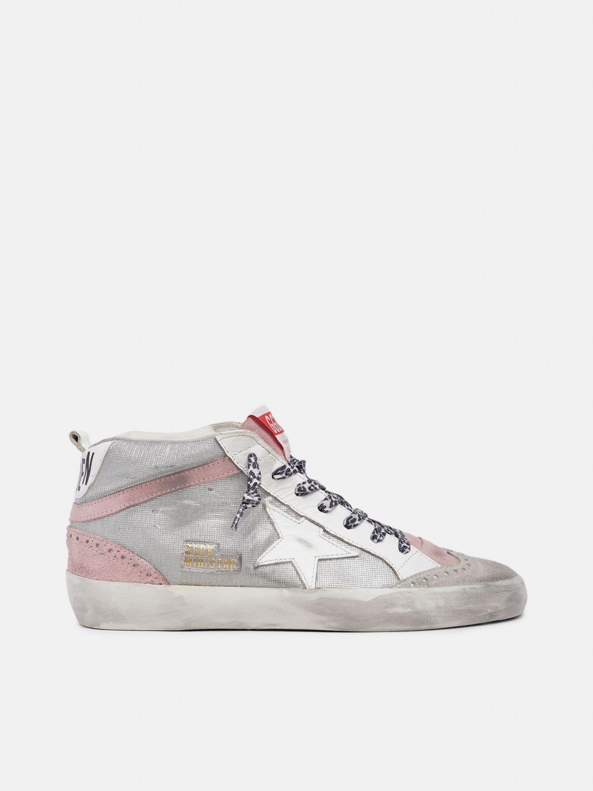 Sneakers Mid Star rosa e argento con glitter